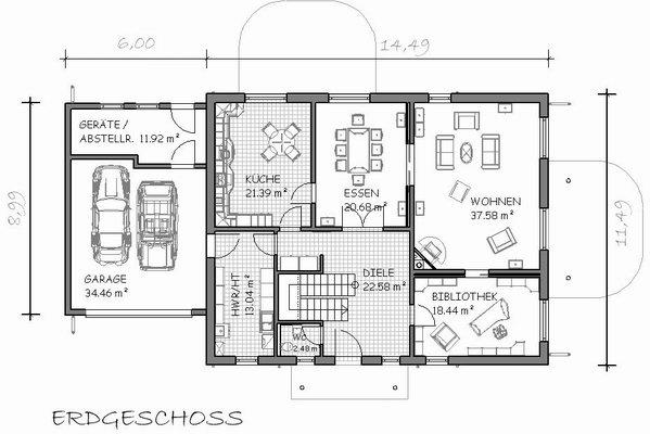 Grundriss villa mit garage  E 230
